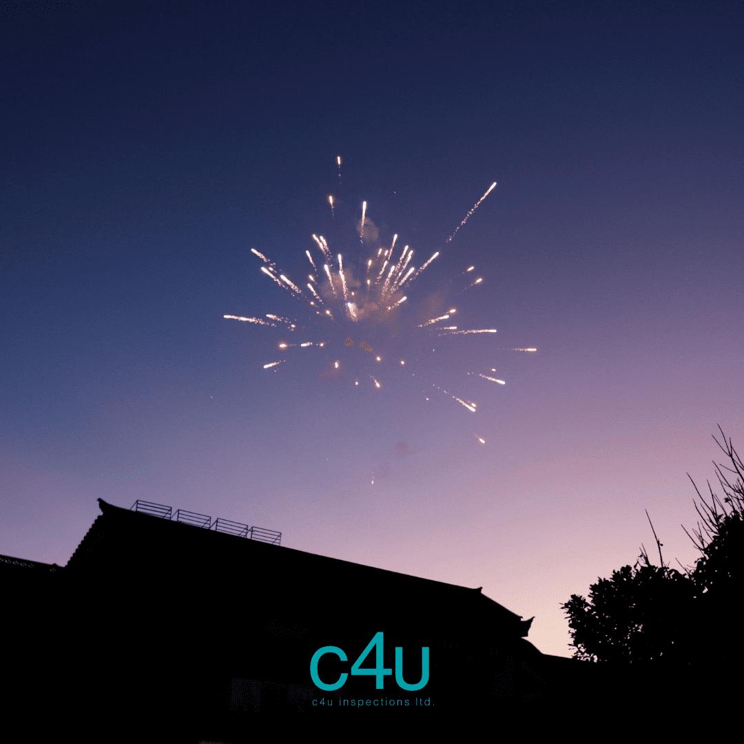 fireworks over house